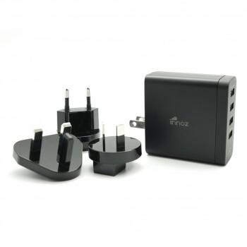 Innoz® InnoPower TQ4 4 Port QC3.0 Travel Charger (with US, UK, EU, AU Plug Adaptor) - Black