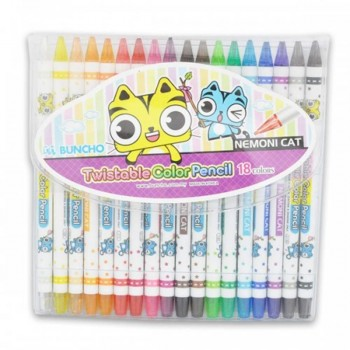 Buncho Twistable Color Pencils - 18 colors