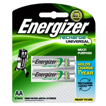 Energizer Universal NiMH AA Rechargeable Batteries - 2-count - 1400 mAh - 1200 Cycles (Item No:B06-11) A1R2B224
