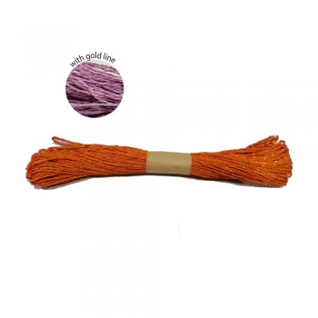 Colorful Paper Rope 25meters with Gold Line - Orange