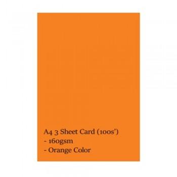 A4 3 Sheet Card 160gsm 100s' (Orange)