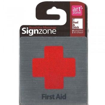 Signzone Peel & Stick Metallic Sticker - First Aid (Item No: R01-01FIRST AID)