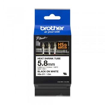 Brother HSe-211 Genuine Heat Shrink Tube, 5.8mm Black on White
