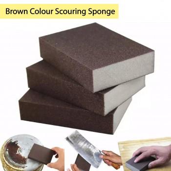 Brown Colour Scouring Sponge 1pcs 金刚砂褐色低密(厚款)