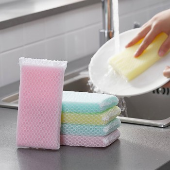 5pcs Kitchen Cleaning Mesh Cloth Sponge