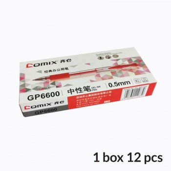 Comix Gel-Ink Pen 0.5mm - Red (Box of 12 pcs)