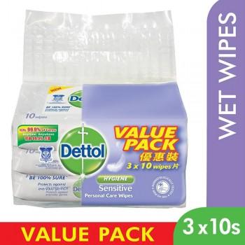Dettol Personal Care Wet Wipes Sensitive 10s x 3 Value Pack