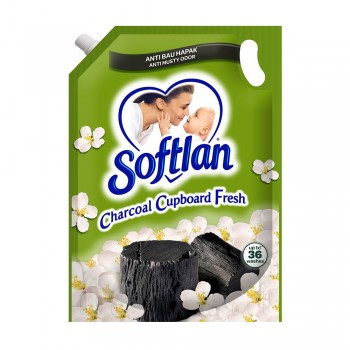 Softlan Anti Wrinkles Charcoal Cupboard Fresh (Green) Fabric Conditioner 1.6L Refill