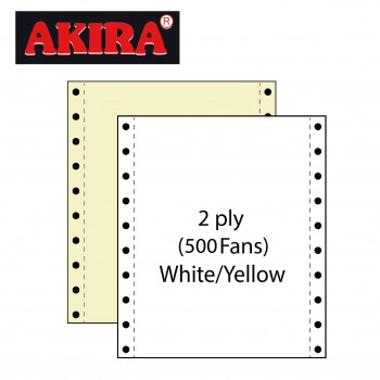 """Computer Form 9.5"""" x 11"""" 2 Ply NCR 500 Fans - White/Yellow"""