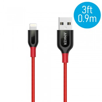 Anker A8121 PowerLine+ 3ft MFI Lightning Connector Cable - Red (0.9M)