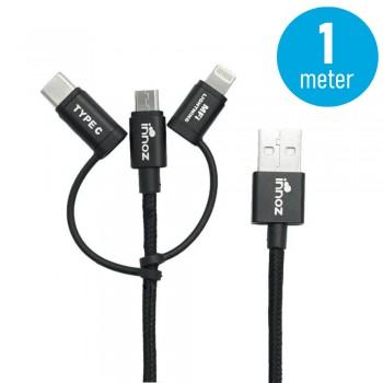Innoz® InnoLink 3-in-1 Nylon Cable - Black (1m) - MFI Certified InnoLink Charging/Transfer Cable - Type-C, Micro USB, Lightning - Nylon Braided, Aluminium Shell