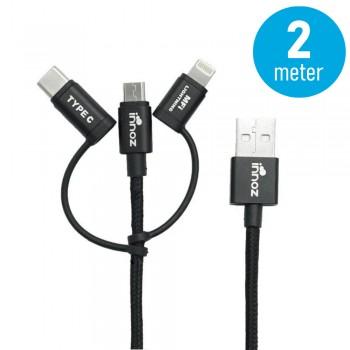 Innoz® InnoLink 3-in-1 Nylon Cable - Black (2m) - MFI Certified InnoLink Charging/Transfer Cable - Type-C, Micro USB, Lightning - Nylon Braided, Aluminium Shell