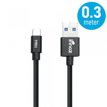 Innoz® InnoLink USB 3.1 to Type-C 5Gbps Super Speed Transfer & 5V/3A  High Speed Charging Cable - Black (0.3m)