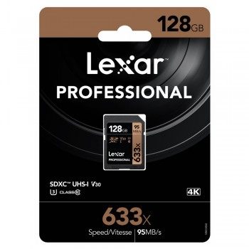 Lexar 633X Professional 128GB V30 U3 SDHC™/SDXC™ UHS-I Memory Cards (up to 95MB/s read, Write 45MB/s)