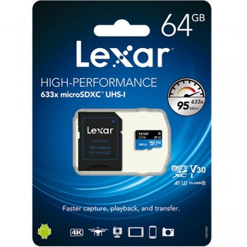 Lexar 633X microSDXC 64GB High-Performance A1 U3 UHS-I Memory Cards with SD Adapter (up to 95MB/s Read, Write 45MB/s)