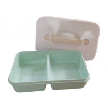 Japanese Style Hand Held 2 Slot Wheat Lunch Box