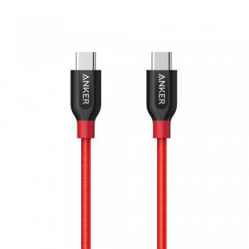 Anker A8187 PowerLine+ USB-C to USB-C 2.0 (3ft/0.9m) UN Red with Offline Packaging V3 (848061040715)