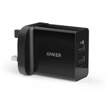 Anker B2021 24W 2-Port USB Charger UK Black & 3ft micro USB Cable Black (848061038699)