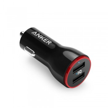Anker PowerDrive 2 Dual Usb Car Charger - 24W, 2 Port Usb, Black