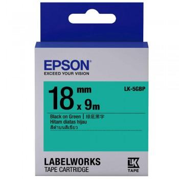 Epson 18mm x 9m Black on Green Tape C53S655519 (Item No: EPS LK-5GBP)