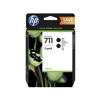 HP 711 Black DesignJet Ink Cartridges 80ml (2 pack)