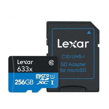 Lexar microSDXC 633X 256GB with SD Adapter U3 (up to 95MB/s read, Write 45MB/s)