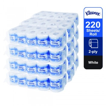 Kleenex® Standard Roll Toilet Tissue 50910 - 10 roll x 220 white, 2 ply (2200 sheets) [10 rolls x 12 bags]