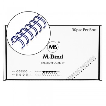 "M-Bind Double Wire Bind 2:1 A4 - 1-1/2""(38mm) X 23 Loops, 30pcs/box, Blue"