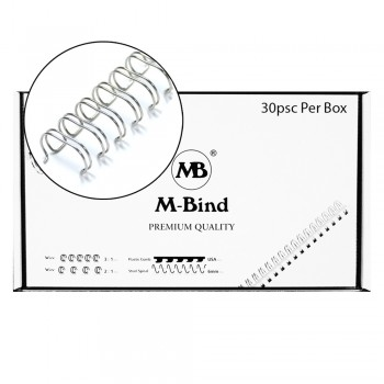 "M-Bind Double Wire Bind 2:1 A4 - 1-1/2""(38mm) X 23 Loops, 30pcs/box, Silver"