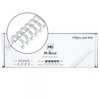 """M-Bind Double Wire Bind 2:1 A4 - 1/2""""(12.7mm) X 23 Loops, 100pcs/box, Silver"""