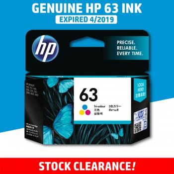 [CLEARANCE] Original HP 63 Color Ink Cartridge - Genuine HP Ink F6U61AA F6U61A F6U61 Colour Ink (300 Pages)