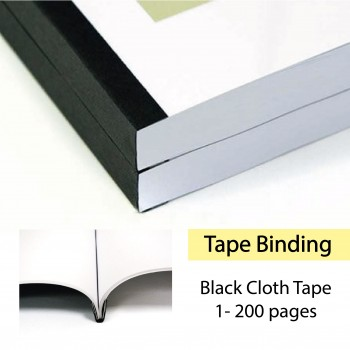 Tape Binding Service for Book Finishing (Black Cloth Tape) - 1-200pages