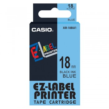 Casio Ez-Label Printer Tape Cartridge - 18mm Black on Blue (XR-18BU1)