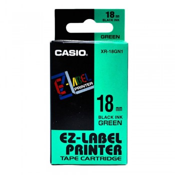 Casio Ez-Label Printer Tape Cartridge - 18mm, Black on Green (XR-18GN1)