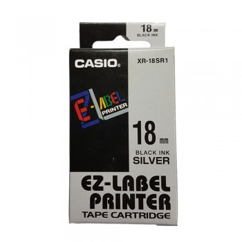 Casio Ez-Label Printer Tape Cartridge - 18mm, Black on Silver (XR-18SR1)