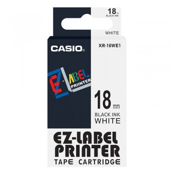 Casio Ez-Label Printer Tape Cartridge - 18mm, Black on White (XR-18WE1)