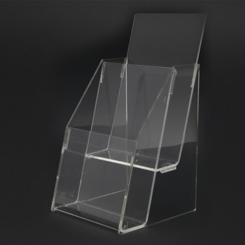 Acrylic 1/3 A4 Brochure Holder Stand 2 Layer - 99mm (W) x 210mm (H)