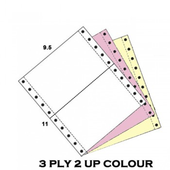 Computer Form 9.5 x 11 x 3ply 2up NCR Colour (White/Pink/Yellow) (500Fans)