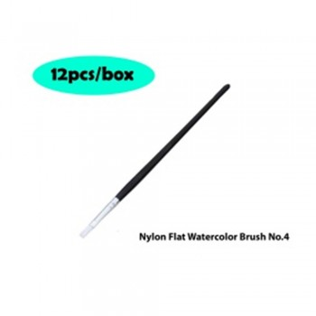 Nylon Flat Watercolor Brush No.4 - 12pcs/box