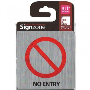 Signzone Peel & Stick Metallic Sticker - NO ENTRY ( Item No: R01-45 )