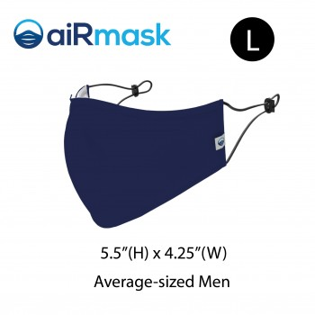 aiRmask Nanotech Cotton Mask Navy Blue (L)