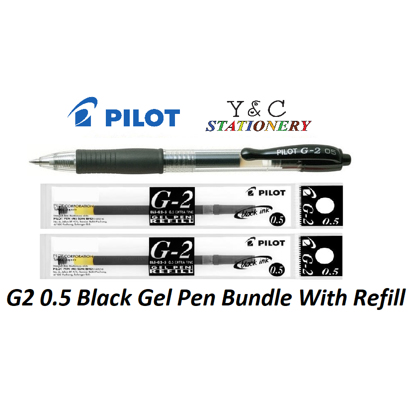 Pilot G2 0.5 Black Pen and Refill Bundle