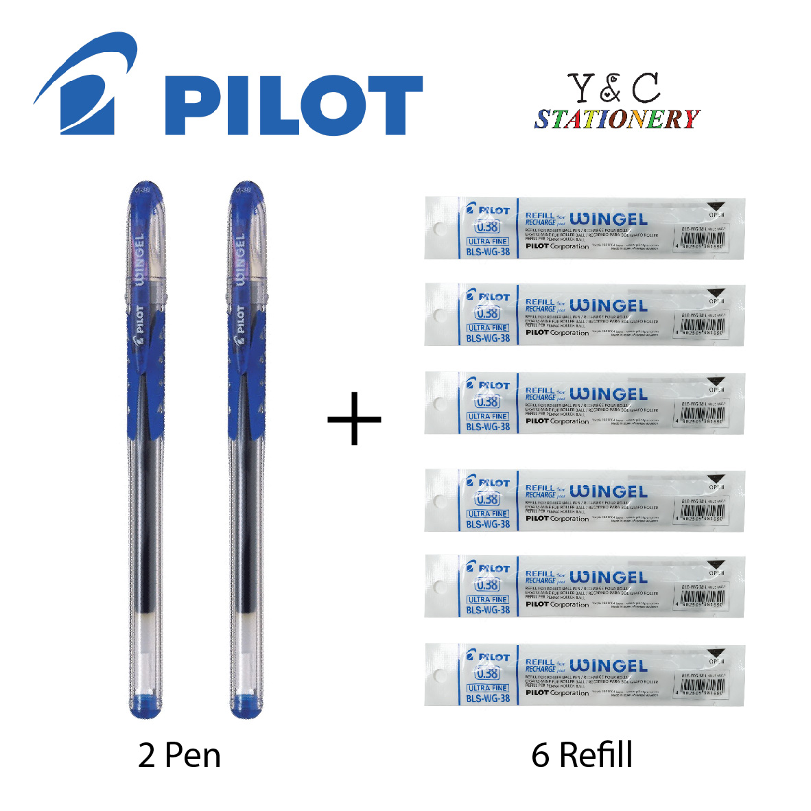 Pilot Wingel 0.38 Blue Pen and Refill Bundle