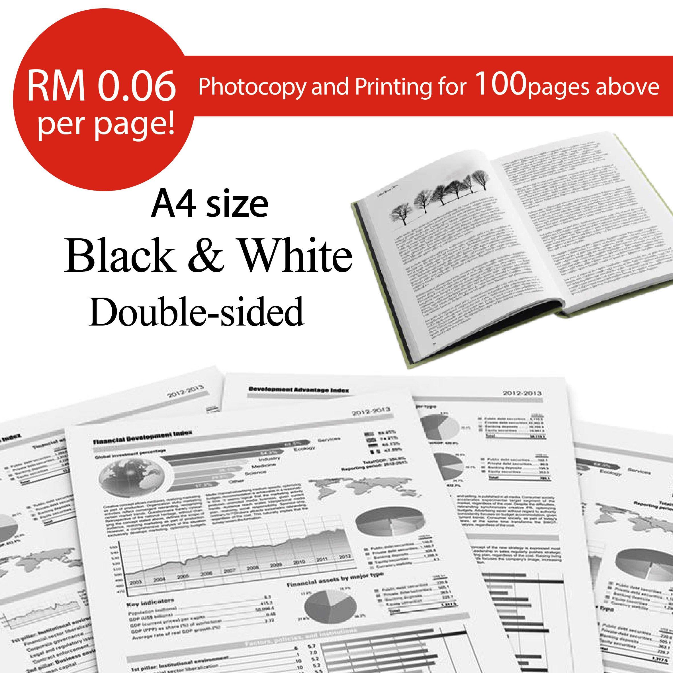 Printing / Photostate B&W Double Side - A4 Size